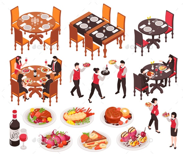 Isometric Restaurant Constructor Set - Food Objects