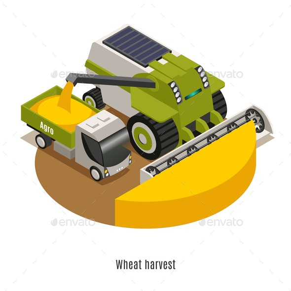 Agricultural Robots Isometric Background - Industries Business
