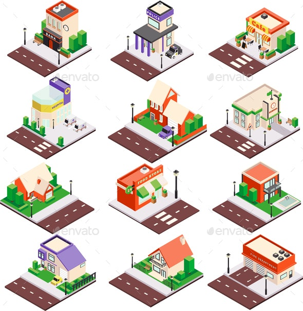 City Buildings Isometric Set - Buildings Objects