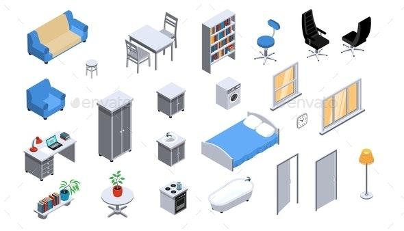 Interior Objects Isometric Set - Miscellaneous Vectors
