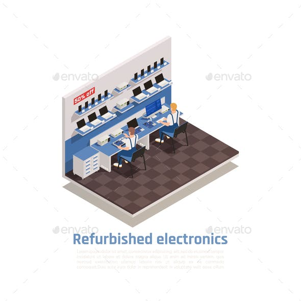 Refurbished Electronics Isometric Composition
