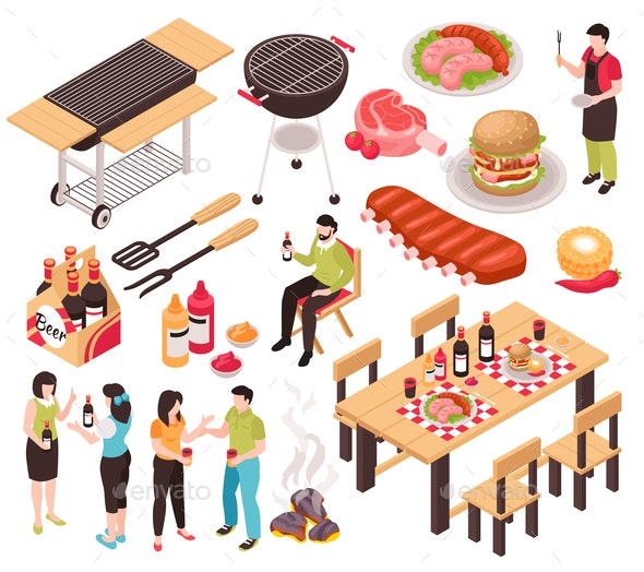 Grill BBQ Party Set - Food Objects