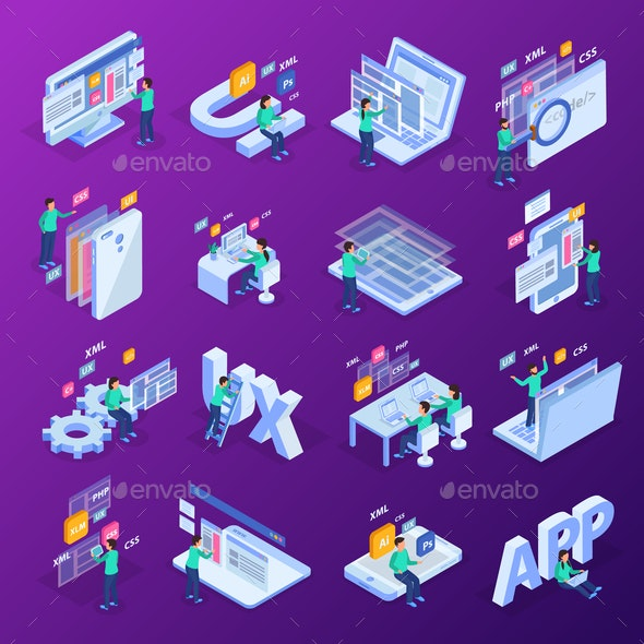 Web Development Isometric Concept Icon Set - Computers Technology