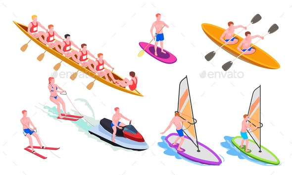 Isometric Water Sports Icon Set - Sports/Activity Conceptual