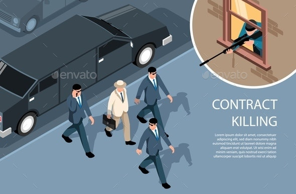 Contract Murder Isometric Composition - Miscellaneous Vectors