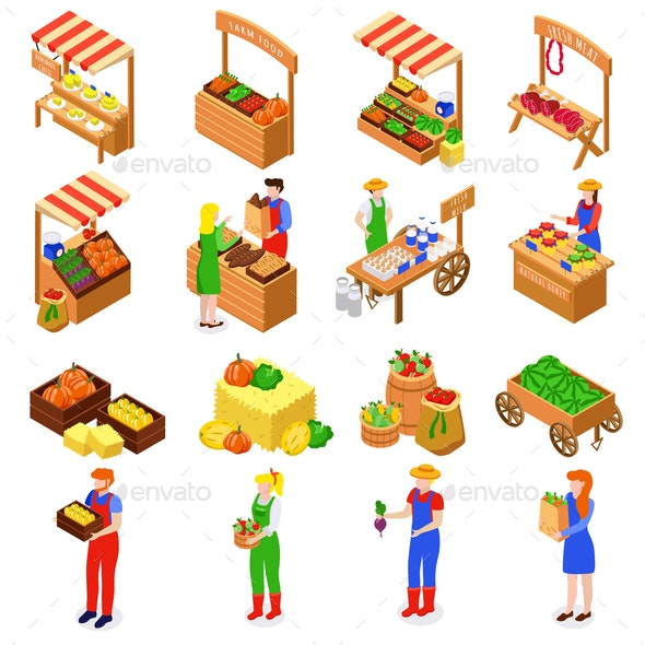 Farmers Market Isometric Set - Food Objects