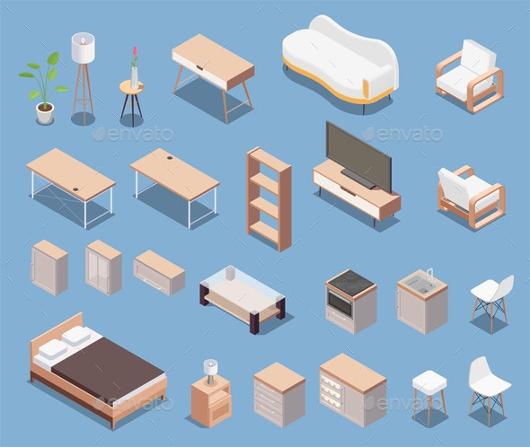 Isometric Furniture Icon Set - Miscellaneous Vectors