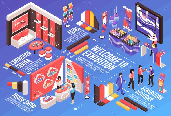Exhibition Isometric Flowchart Composition - Miscellaneous Vectors