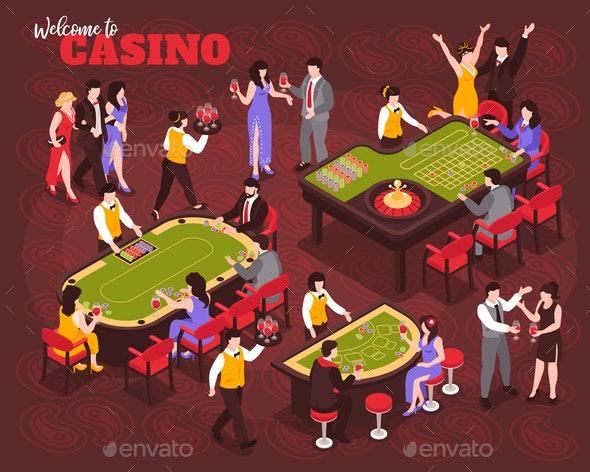 Isometric Casino People Composition - Miscellaneous Vectors