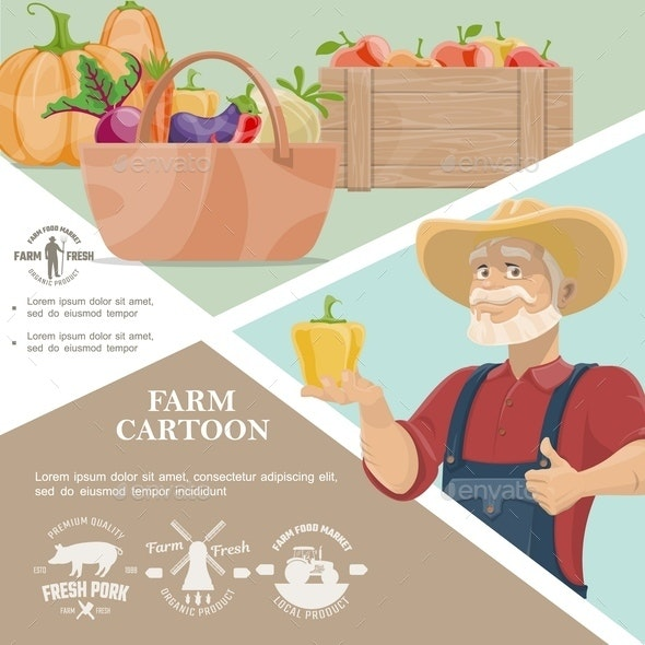 Cartoon Farming Template - People Characters
