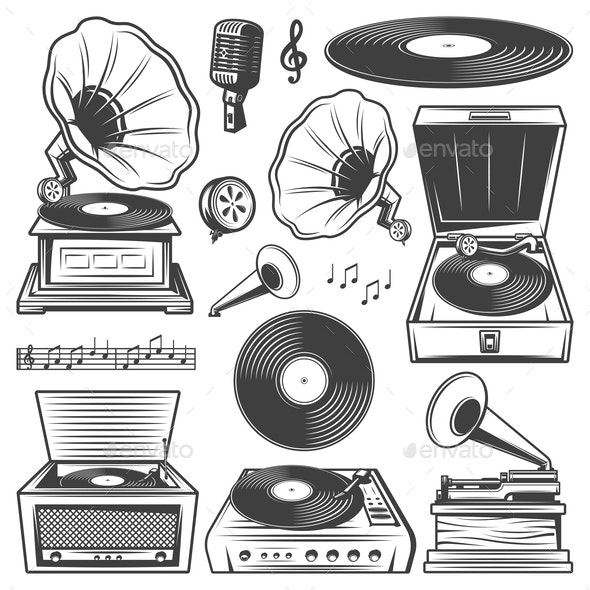 Retro Gramophone Icons Set - Retro Technology