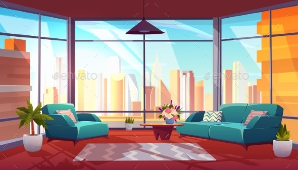 Living Room with Panoramic Window, Cozy Apartment - Buildings Objects
