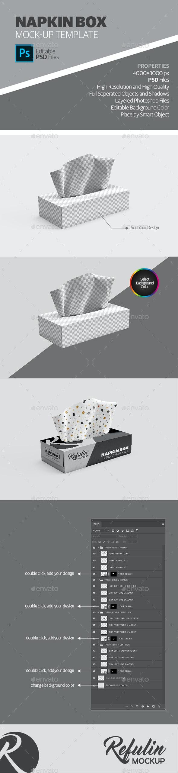 Napkin Box Mockup - Product Mock-Ups Graphics