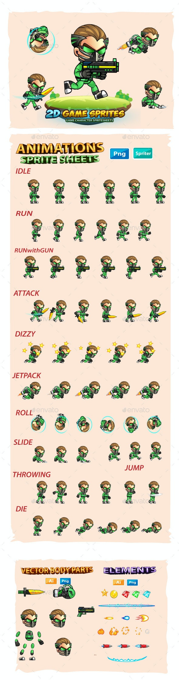 Green Cyborg 2D Game Sprites - Sprites Game Assets