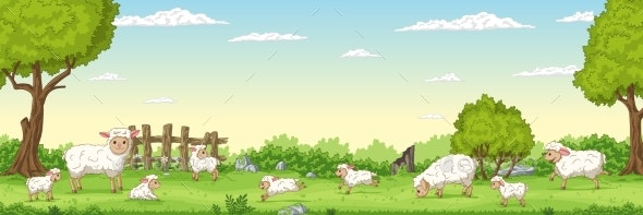 Panorama Landscape With Sheep - Animals Characters