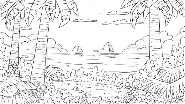 Coloring Book Tropical Landscape - Landscapes Nature