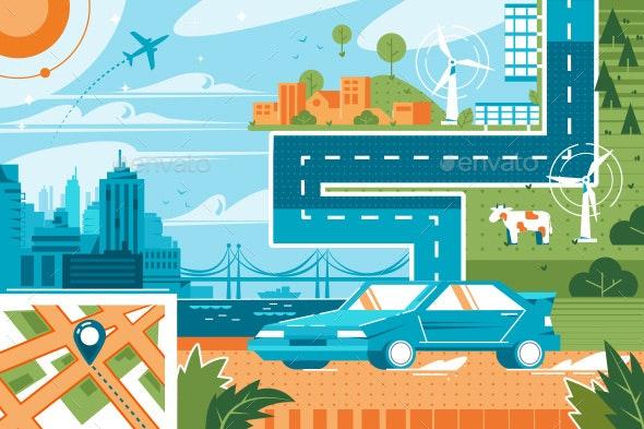 Modern City Landscape - Technology Conceptual