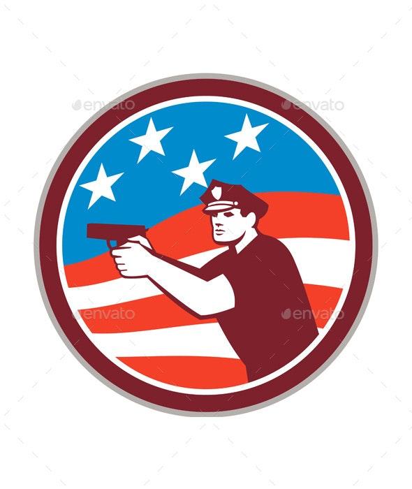 Policeman With Gun American Flag Circle Retro - Industries Business