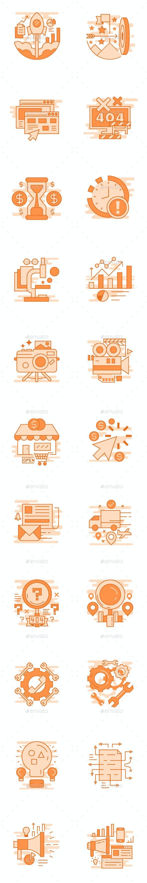 Orange flat line concepts - Technology Icons