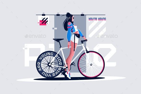 Pretty Girl on Roadbike - People Characters