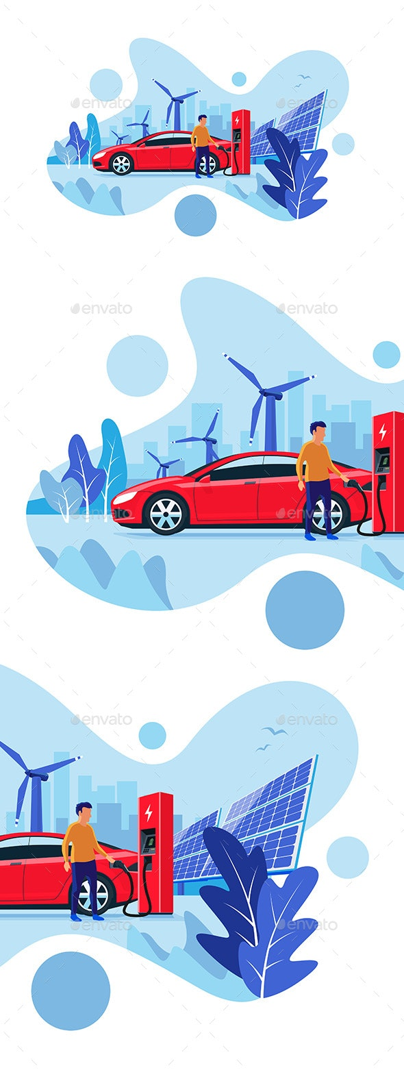 Electric Car Charging at the Charging Station - Technology Conceptual