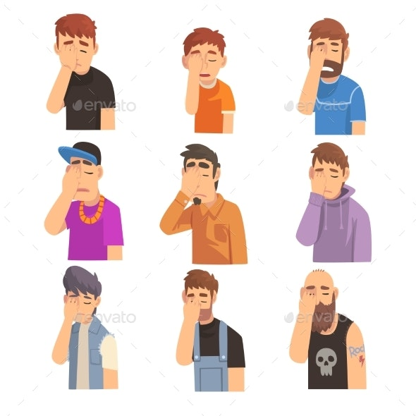 Men Covering Their Face with Hands Set - People Characters