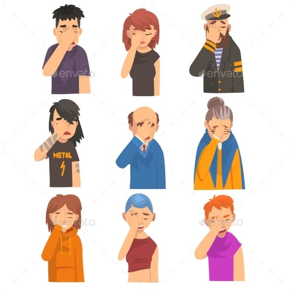 People Covering Their Face with Hands Set
