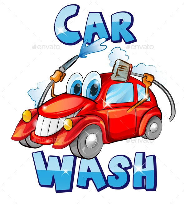 Car Wash Character Cartoon - Services Commercial / Shopping