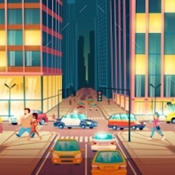Modern City Street at Evening Cartoon Vector