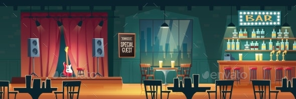 Bar with Live Music Cartoon Vector Interior - Backgrounds Decorative