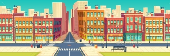Old Quarter Street in Modern Metropolis Vector - Buildings Objects