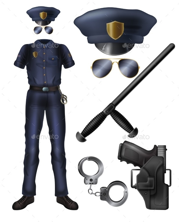 Policeman Uniform, Ammunition Cartoon Vector Set - Man-made Objects Objects