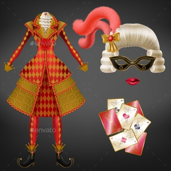 Womans Masquerade Carnival Suit Realistic Vector - Man-made Objects Objects