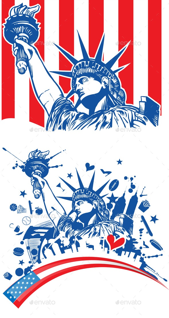 Statue Of Liberty With Torch On Flag Background - Decorative Symbols Decorative