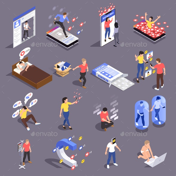 Social Addiction Icons Collection - Communications Technology