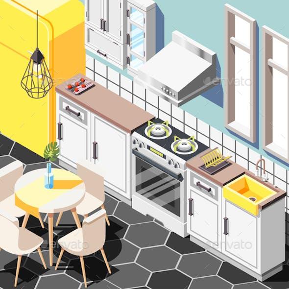 Isometric Kitchen Interior Composition
