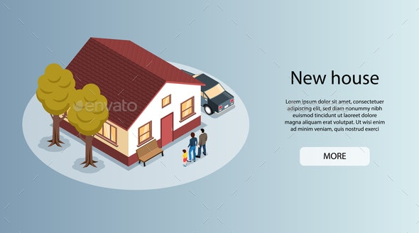 City House Isometric Banner - Buildings Objects