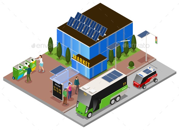Eco City Isometric Composition - Industries Business