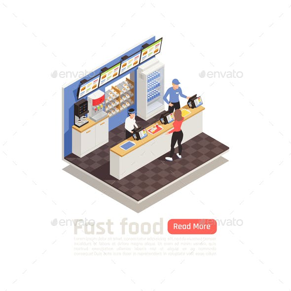 Fast Food Restaurant Isometric Composition