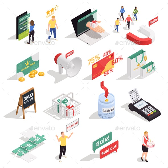 Loyalty Isometric Icons Set - Concepts Business