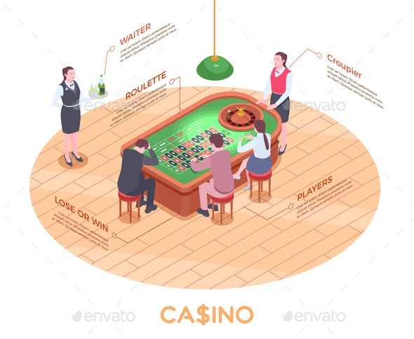 Casino Isometric Composition - People Characters
