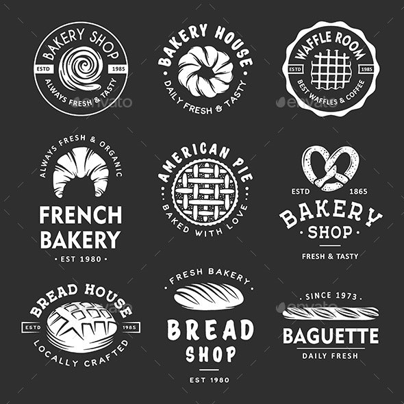 Set of Vintage Style Bakery Shop Labels - Food Objects
