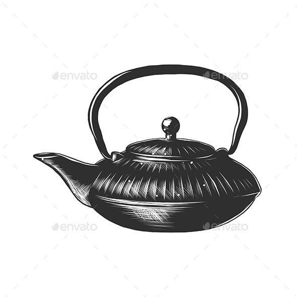 Hand Drawn Sketch of a Chinese Teapot - Man-made Objects Objects