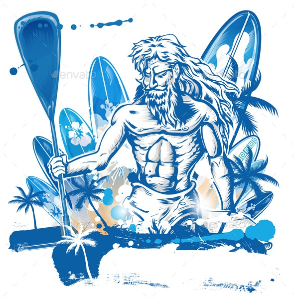 Poseidon Puddle Surfer on Surfboard Hand Draw - Miscellaneous Characters