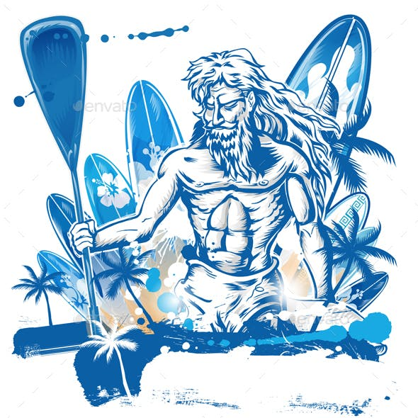 Poseidon Puddle Surfer on Surfboard Hand Draw