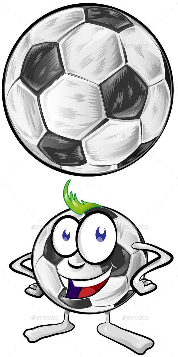 Soccer Ball Cartoon Isolated on White Background - Sports/Activity Conceptual