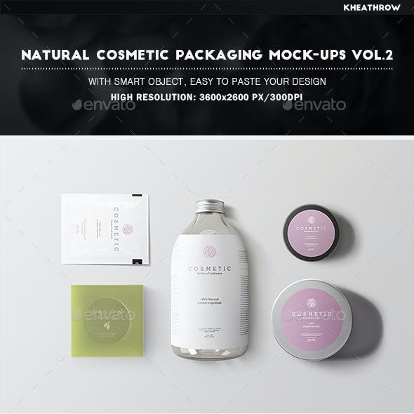 Natural Cosmetic Packaging Mock-Ups Vol.2