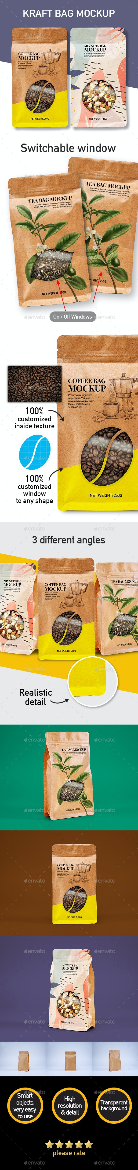 Kraft Pouch Bag Packaging Mockup - Packaging Product Mock-Ups