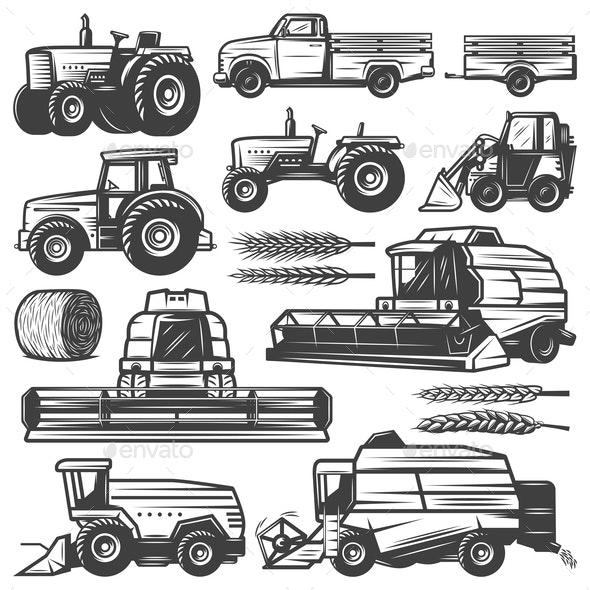 Vintage Harvesting Transport Collection - Miscellaneous Vectors