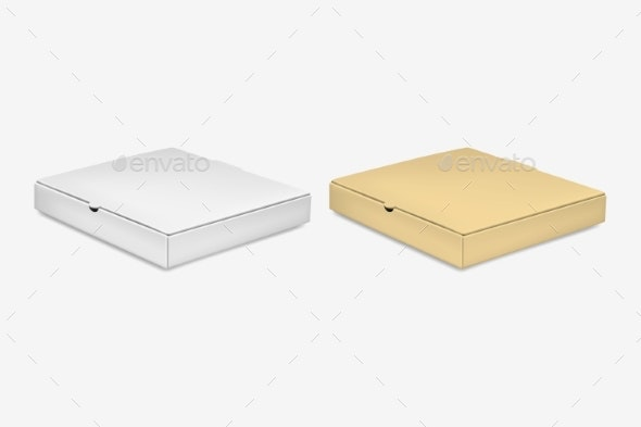 Vector Realistic Blank White and Brown Pizza - Man-made Objects Objects